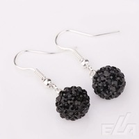 New wholesale Silver plated crystal chandelier earring 10mm Pink Ball shambala rhinestone earring fashion jewelry