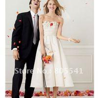 Свадебное платье Real Photo Best Selling A-line Strapless Lace Tea-Length Plus Size Wedding Dress 9T9948