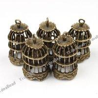 Wholesale- 6 pcs New Arrival Antique Bronze charm Cage with a bird shape pendant  Fit Necklaces 140961