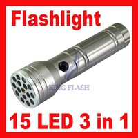 Free shipping 15 LED Ultraviolet UV LASER 3 in 1 Flashlight Torch Aluminum Camping Pocket Lamp Waterproof/Shockproof
