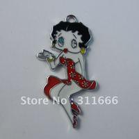 Free shipping 50 pcs/lot  Betty Boop  zinc alloy enamel charms pendants