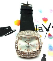 ladies stainless steel bracelet watch,women dress watch, gift quartz watch,black leather crystal Watch