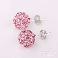 DIY Fashion Shamballa 10mm Silver Round Ball Pave Beads Crystal Stud Earrings Jewelry Rhinestone Earrings
