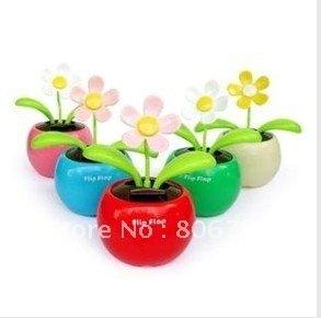 Swing Solar Flower,Magic Cute Flip Flap Swing Solar Flower,Green,Blue,Pink Solar Plant Swing Solar Toy Free Shipping