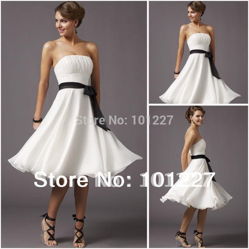 BWD898 Free Shipping Hot Sales White Chiffon Black Sash Strapless Knee Length Bridesmaid Dress