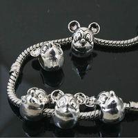 12pcs Tibetan Silver Mickey Mouse Beads Fit European charm  Bracelet  L0136