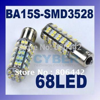 2 x Ba15s SMD3528 Brake Stop Tail Light 68 LED Car Bulb Lamp Xenon White DC 12V 3W  dropshipping 2704