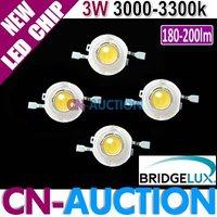 FREE SHIPPING! Bridgelux 3W Warm White LED Chip, High Power LED, 45mil,180-200lm,3000-3300k 200pcs/lot (CN-BLC17) [Cn-Auction]