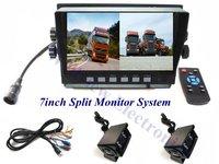 Digital 800*480 7inch Quad Monitor Truck Reversing Camera System,24V DC