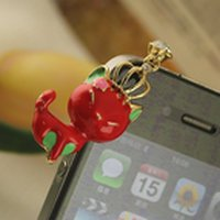 Free shipping Wholesale  High Quality Cartoon Anti Dust Plug for ipad Stopper Set Dustproof earphone for Iphone 4 4th 4G 4S