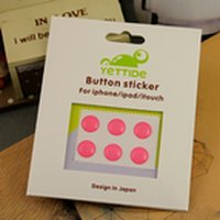 Wholesale Charming Pink 6PCS Key Button Sticker for Apple iPhone 4S 4 3G 3GS iPad 2 iPod Touch +Free Shipping