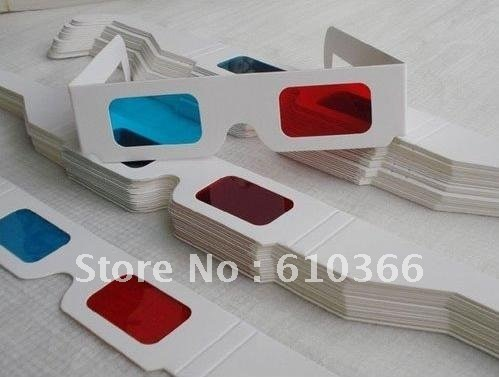 Paper 3D Glasses Red Blue / Cyan 300pcs EMS DHL Free Shiipping To Everywhere(China (Mainland))