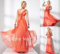 Free Shipping-2012 New Arrival One Shoulder Chiffon Bridesmaid Dress