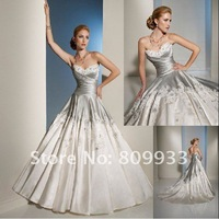 2012 new hot fashion satin lover neck decals A line trailing wedding