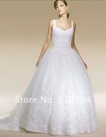 w483 High quality satin spaghetti strap embroidered wedding dress