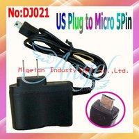 Wholesale AC 110-240V 50/60Hz EU plug or US plug Micro 5 pin mobile phone charger adapter #DJ021