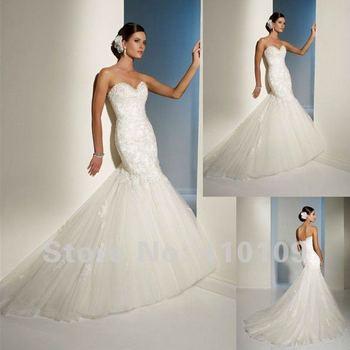 Best-selling! New Sweetheart Organza  Beaded Embroidery Mermaid Ruffle Wedding Dresses/bridal Gown /bridal dress Custom Made