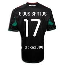 2010 world cup mexico away black quality soccer jersey(China (Mainland))