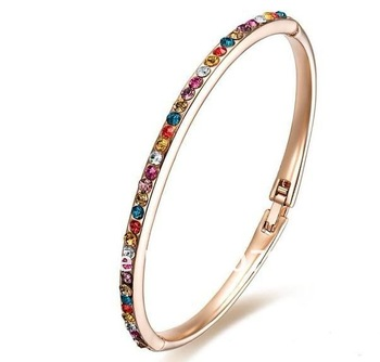 Free shipping, 10 pcs/lot,Colorful Swarovsk Bracelet, simple bangle, 18K gold plated, hotsale, export standard, high quality