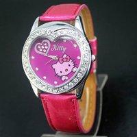 50PCS/LOT EMS Free Shipping New Hello Kitty watch for women's watch Wristwatch Fashion watch 5 colors kid's watch wrist watches