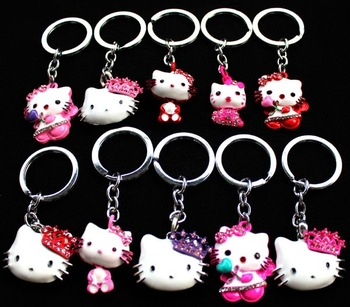Wholesale New 12 PCS Hello Kitty 3D Key Chains Key Ring Accessories Free Shipping