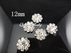 12mm Mini Clear Alloy Full Of Crystal Button Spark Rhinestone Buttons Decoration Accessory 240pcs/lot(China (Mainland))