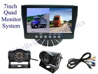 7 inch Digital Car Monitor Reversing Camera System with Quad monitor and 2 CCD cameras,DC24V Power In