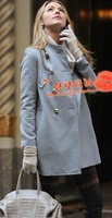 FREE SHIPPING JAPAN FASHION BEAUTIFUL WOMAN'S HOT Gossip girl serena blue hair coat