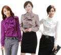 Free shipping!!2012 Hot sale long sleeve flouncing fashion shirts wholesale cheap purple lady t-shirts W691