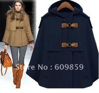 2012 NEW Hot selling One button Celebrity Poncho Coat S,M,L,XL Blue Beige Women Outwear Winter Jacket