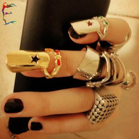 Hot Wholesale Cat Woman Long Claw Ring Full Solid rhinestone Nail Ring 2 color PUNK crystal Finger Tip Free shipping