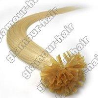 "Guarantee100% human hair 100S 16"",18"",20"",22"",26"" Remy Keratin Nail tip hair Human Hair Extensions#613  lightest blonde Straight"