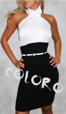 Black  White Cocktail Dress on Black And White Dress Split Tail Turtle Neck Cocktail Dress Picture In