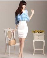 4 color plus size !Blue and white flounced OL Short-sleeve Chiffon WOMEN'S Dress blue size S