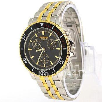 Free Shipping Guaranteed 100% New 1PCS Fashion Golden and Silver  Stainless Steel Gentlmen Man Men Wrist Quartz Watch