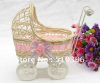 Modern garden home furnishing accessories rattan crafts small cart decoration decorative gifts rattan vase.