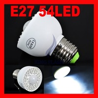 Free shipping New Sensor Light Bulb E27 54 LED PIR Motion Light