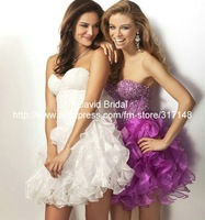 Stunning Beaded DA042 Ruffled Organza Purple Mini Cocktail Dress Evening