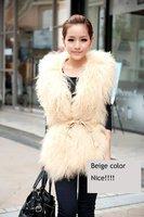 YY-001 Women's Mongolian fur wasitcoat/fur vest with sheepskin suede back/two face/black/beige/wholesale