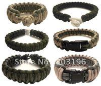 Hot Sale Free Shipping 50PCS Paracord Survival Bracelets Survival Straps for emergency 9 inches/23cm 20 Colors