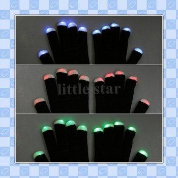 Funny Gift, One pair of 7 Mode LED Gloves Rave Light Finger Lighting Glow Flashing Gloves, freeshipping