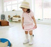 2012 summer fashion Girl dress suit Wings suit pink short sleeve tops hoody + skirt cake skirt