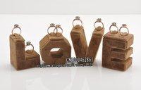 Free Shipping Fancy Cheap  Cute 4 Brown Velvet Surface LOVE Ring Holder
