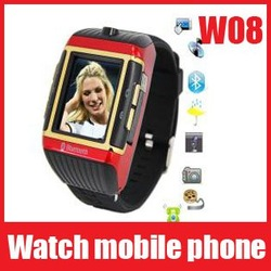 Free Shipping Watch Phone W08 GSM quad-band,bluetooth,2.0Mcamera,FM,mp3/MP4(China (Mainland))