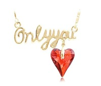 Party Jewellery Gold plated Red heart-shapped Crystal rhinestone Necklace WJD7267