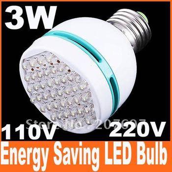 3pcs/lot 3W E27 110-260V cool White light bulb 42 leds energy saving LED bulb Spot light lamp,free shipping