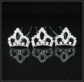 HP004 Wholesales-Bridal girl crystal hair pins shining Rhinestones fashion tiara shape hair pin Mixed Items 100pcs/lot