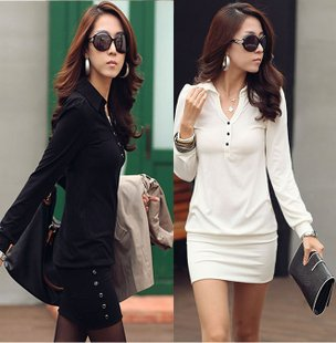 Stylish long sleeve v- Collar Slim Dress