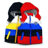 Clearance Sale,Retail Price,Sunlun Free Shipping Boys' Split Joint Zipper Cotton Waistcoat Hooded 2014 Spring New