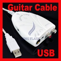 Free shipping Mini USB Interface Audio Guitar Link Cable Recording to PC/MAC/Speaker White